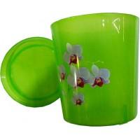 Горшок для цветов/орхидеи пластиковый, цвет зелено-прозрачный, д14 см, h15 см, 1,8 л