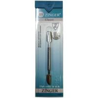 Палочка маникюрная с топориком Zinger (Зингер), серебряная, граненная, zo B-150-1-S-CVD-10