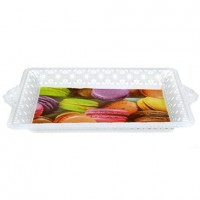 Поднос пластиковый с ручками Домашняя мода, фотопечать, цвета микс, 23,5х35,5х3,5 см