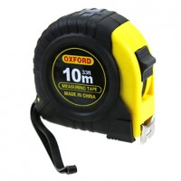 Рулетка измерительная, пластиковый корпус, широкая лента, крупные цифры, цвет черно-желтый, 1 фиксатор, 10 м