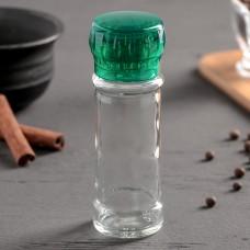 Перечница-мельница, пластиковый механизм, цвет зелёный, 115 мл (45-80 гр)