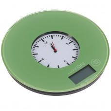 Весы кухонные LuazON LVK-703 электронные, встроенные часы, цвет хаки, до 5 кг