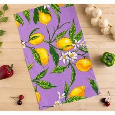 Кухонное полотенце вафельное Лимоны, цвет сиреневый, 35х58 см