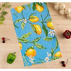 Кухонное полотенце вафельное Лимоны, цвет голубой, 35х58 см