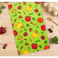 Кухонное полотенце вафельное Перцы, цвет зелёный, 35х58 см