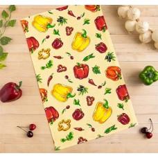 Кухонное полотенце вафельное Перцы, цвет бежевый, 35х58 см