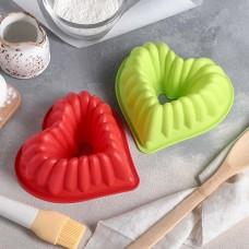 Форма силиконовая для выпечки Сердце «Немецкий кекс», цвета микс, 17х17 см