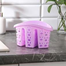 Сушилка для столовых приборов Хозяюшка, 3 отдела, цвета микс, 15х14х15 см