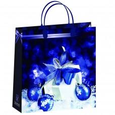 Пакет-сумка новогодний Синий ПОДАРКИ Антелла, 30х30х10 см