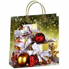 Пакет-сумка новогодний Зеленый ПОДАРКИ Антелла, 30х30х10 см