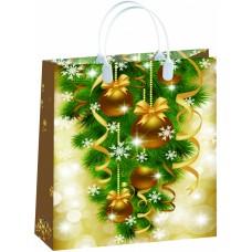 Пакет-сумка новогодний Золотистый ЁЛКА И ШАРЫ Антелла, 32х42х10 см