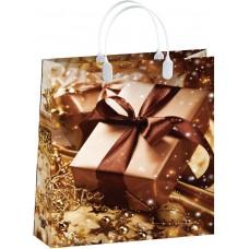 Пакет-сумка новогодний Коричневый ПОДАРОК Антелла, 32х42х10 см