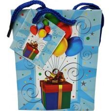 Пакет подарочный бумажный Воздушные шарики с подарком Антелла, 11,1х13,7х6,2 см