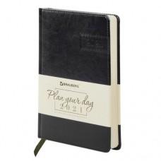 Ежедневник датированный Brauberg (Брауберг) Imperial 2021, А5, кожзам, черный, 138x213 мм