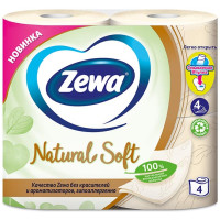 Туалетная бумага Zewa (Зева) Natural Soft, 4-х слойная, 4 рулона
