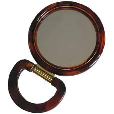 Зеркало настольное круглое с увеличением, двустороннее, коричневое, 9 см