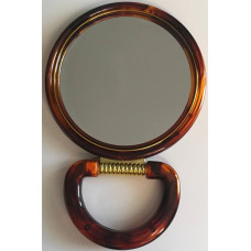 Зеркало настольное круглое с увеличением, двустороннее, коричневое, 11 см