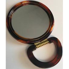 Зеркало настольное круглое с увеличением, двустороннее, коричневое, 15 см