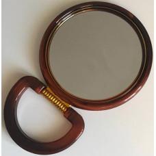 Зеркало настольное круглое с увеличением, двустороннее, коричневое, 18 см