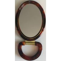 Зеркало овальное с увеличением, двустороннее, коричневое, 11х14 см