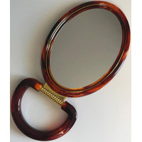 Зеркало овальное с увеличением, двустороннее, коричневое, 16х21 см