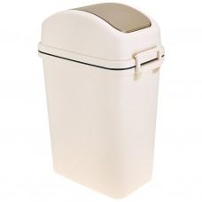 Ведро для мусора пластмассовое с плавающей крышкой, цвет матовый-бежевый, 11л