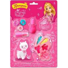Детский подарочный набор Принцесса Сказочная бабочка: тени для век, блеск для губ, губная помада, лак для ногтей, спонж, заколка