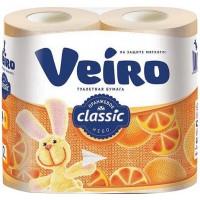 Туалетная бумага Veiro (Вейро) Классик, цвет оранжевый, 2-х слойная, 4 шт