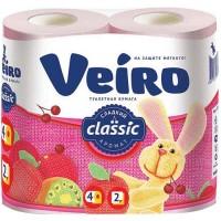 Туалетная бумага Veiro (Вейро) Классик, цвет розовый, 2-х слойная, 4 шт