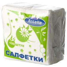 Cалфетки бумажные Antella (Антелла), 1-х слойные, цвет белый, 24х24 см, 100 шт
