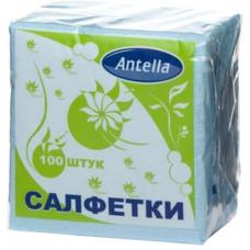 Cалфетки бумажные Antella (Антелла), 1-х слойные, цвет голубой, 24х24 см, 100 шт