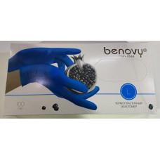 Перчатки из термопластичного эластомера Benovy (Бенови), голубые, размер L, 100 пар