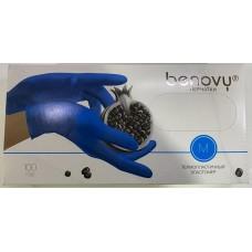 Перчатки из термопластичного эластомера Benovy (Бенови), голубые, размер M, 100 пар