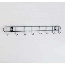 Вешалка-планка хромированная на 8 крючков Доляна Лайт, цвет чёрный, 41х5,5х3 см