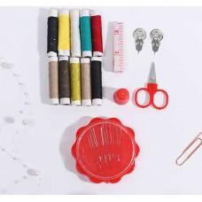 Набор для шитья Ромашка, 6 предметов: цветные нитки 10 шт, иголки, наперсток, нитков-ль, нож, сантиметр