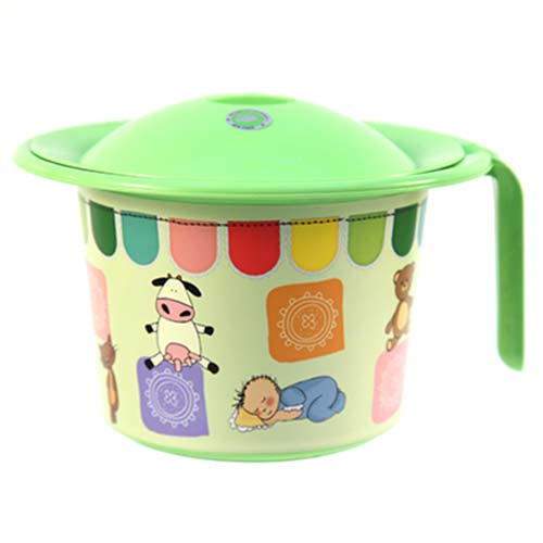 Горшок детский пластиковый Кроха с крышкой, с рисунком, салатовый, д22 см, h15 см, 2,5 л