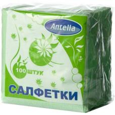 Cалфетки бумажные Antella (Антелла), 1-х слойные, цвет зелёный, 24х24 см, 100 шт