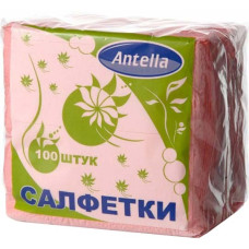 Cалфетки бумажные Antella (Антелла), 1-х слойные, цвет розовый, 24х24 см, 100 шт