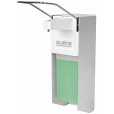 Диспенсер для антисептика и жидкого мыла Laima (Лайма) Professional, наливной локтевой, алюминий, 1 л