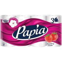 Туалетная бумага Papia (Папия) Клубничная мечта, 3-слойная, 8 рулонов