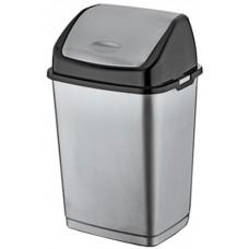 Ведро для мусора пластиковое с плавающей крышкой «Фантазия», цвет черно-серебряный, 43х34х69 см, 50 л