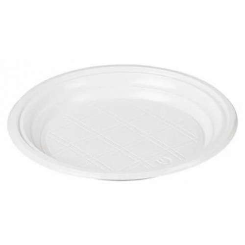 Тарелка одноразовая ПС Стирол, цвет белый, без секций, 205 мм, 100 шт