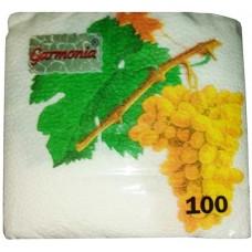 Салфетки бумажные Гармония «Виноград», 100 шт
