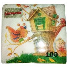 Салфетки бумажные Гармония «Ежик», 100 шт