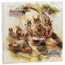 Салфетки сервировочные Fresco (Фреско) Пасха Зайцы, 33х33 см, 20 шт