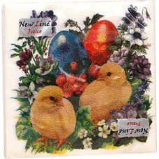 Салфетки сервировочные Fresco (Фреско) Пасха Цыплята, 33х33 см, 20 шт