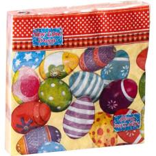 Салфетки сервировочные Fresco (Фреско) Пасхальные яйца кант, 33х33 см, 20 шт