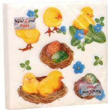 Салфетки сервировочные Fresco (Фреско) Пасха Цыплята в корзинке, 33х33 см, 20 шт