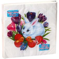 Салфетки сервировочные Fresco (Фреско) Пасха Кролик и крокусы, 33х33 см, 20 шт