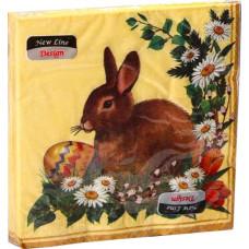 Салфетки сервировочные Fresco (Фреско) Пасха Кролик гризаль, 33х33 см, 20 шт